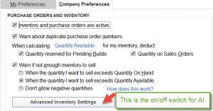 Advanced Inventory Settings in QuickBooks