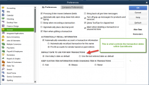 Setting default date in QuickBooks